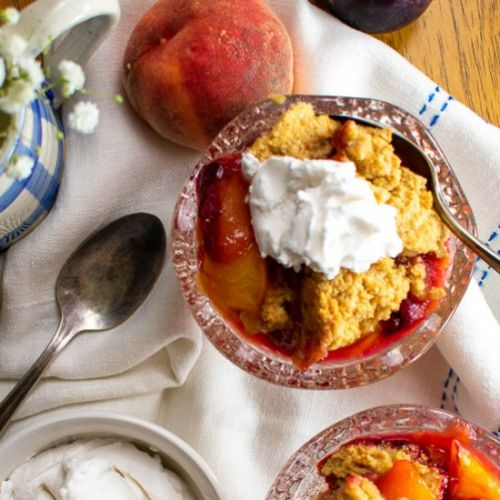 Peach Plum Cobbler, Oat-Nut Crust