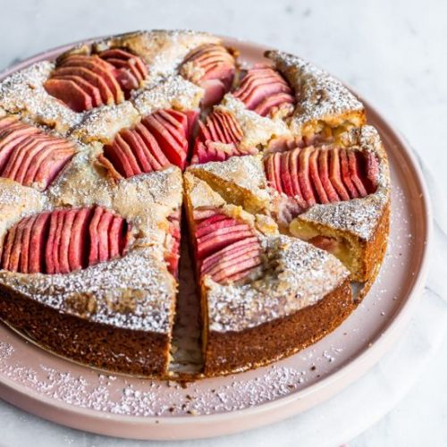 Almond Cake with Pink Apples