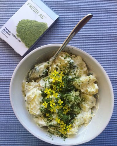 Potato salad with Fresh As Tarragon, capers and Friarielli flowers, plus focaccia with Fresh As herbs