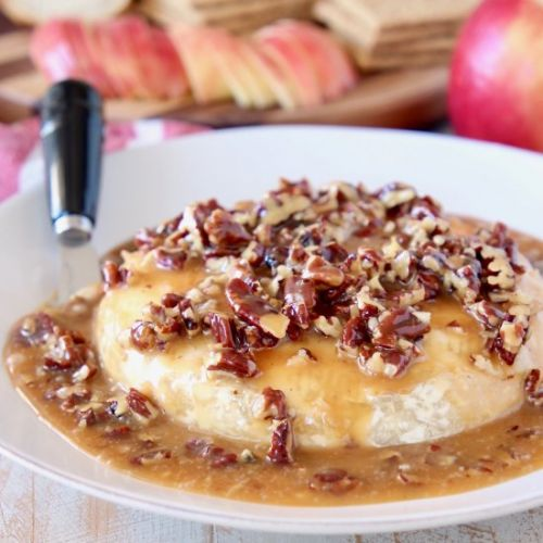 Salted Caramel Pecan Baked Brie