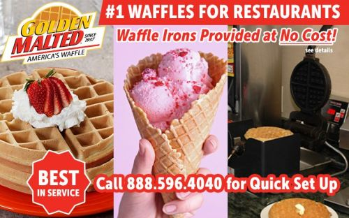 1 Waffles for Restaurants - Golden Malted Provides Waffle Irons at Set Up