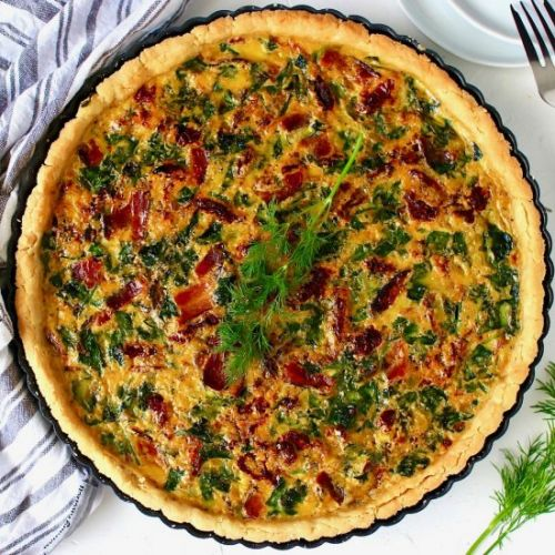 Grain-Free Spinach and Bacon Quiche