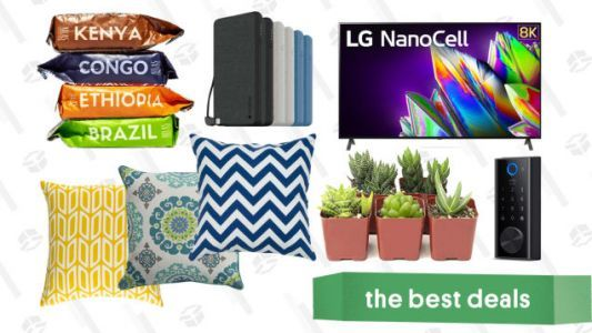 Monday's Best Deals: Free Atlas Coffee, LG 8K TV, Wayfair Accent Pillows, Succulents, Mophie Power Banks, and More
