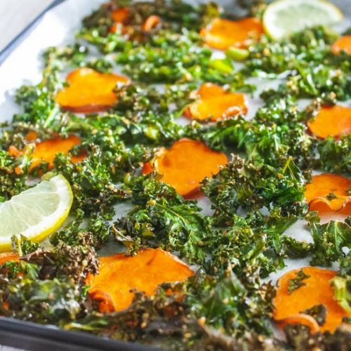 Baked Sweet Potato and Kale Chips