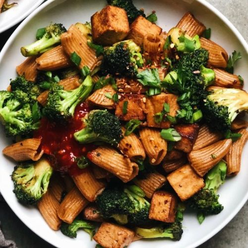 Quick Broccoli Tofu Pasta Stir-Fry