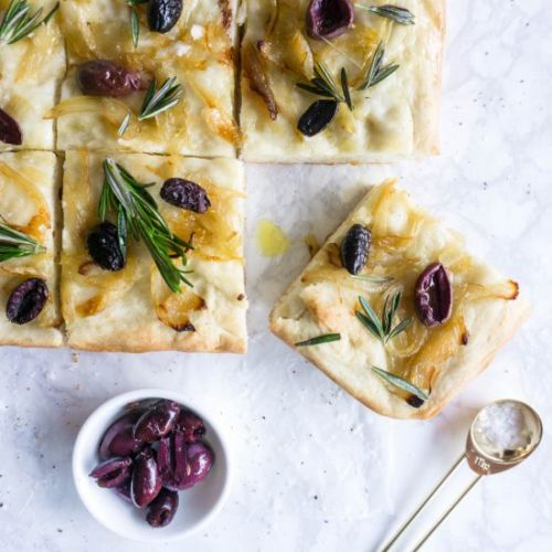 Focaccia with olives and onions