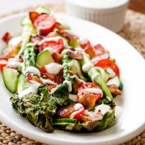 GRILLED ROMAINE SALAD WITH BACON