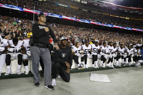 Raiders players sit during national anthem after President's comments
