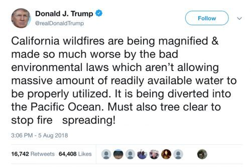 Why Trump Is Blaming California's Wildfires on Water