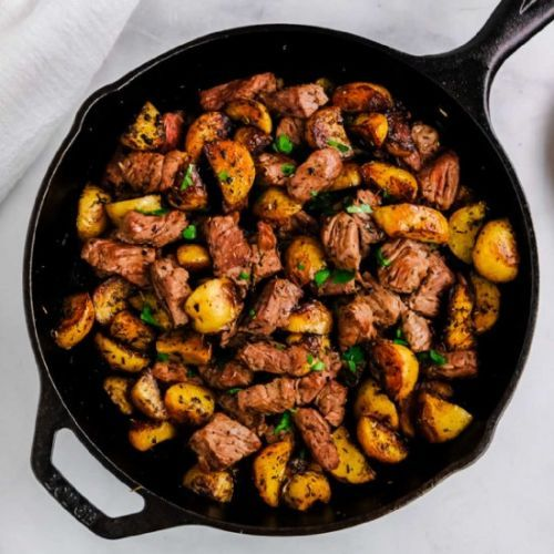 Butter Steak Bites & Herb Potatoes