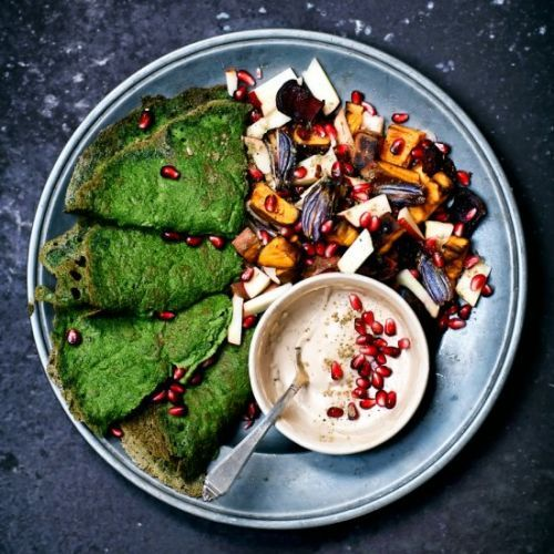 Spinach Crepes with Roasted Veg