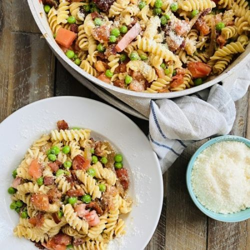 Bacon and Tomato Pasta with Peas