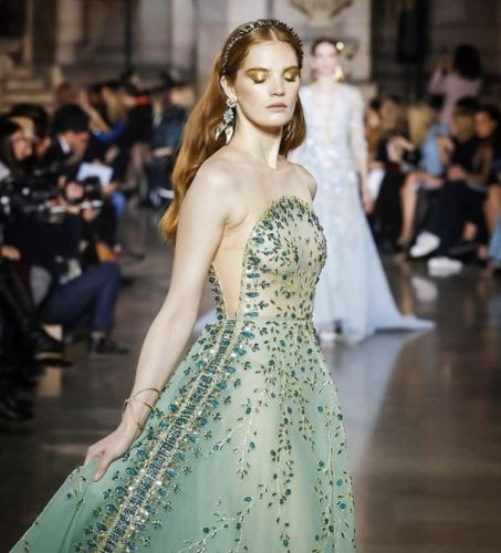 Alexina Graham looks stunningly angelic at the GEORGES HOBEIKA
