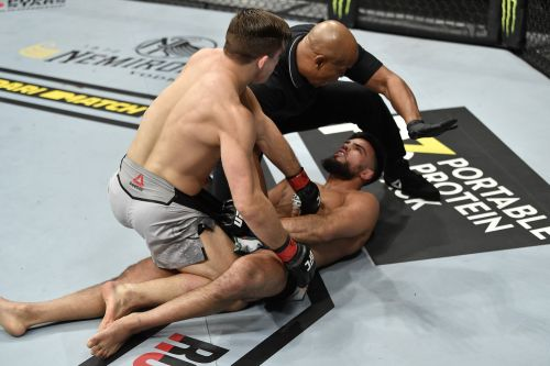 An American southpaw knocked his UFC opponent down with a crafty left hand, held him down with one fist, then punched him 11 times while he lay defenseless on the canvas