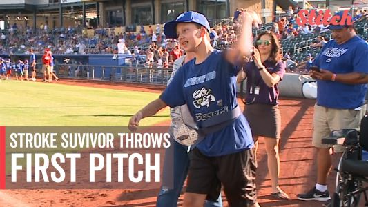 12-year-old stroke survivor throws first pitch at baseball game