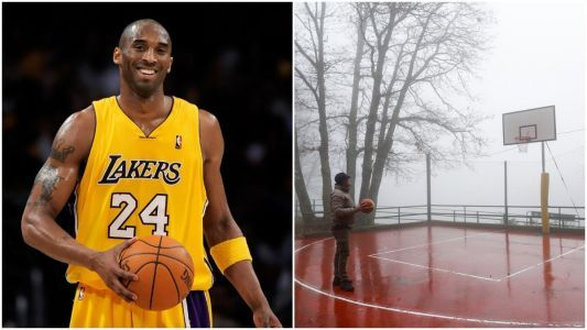 Kobe Bryant's childhood friend revisited a basketball court the former NBA star used to play on while growing up in Italy