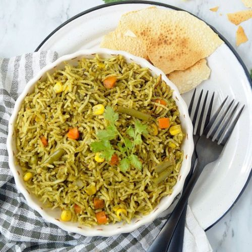 Palak Rice | Spinach rice pilaf