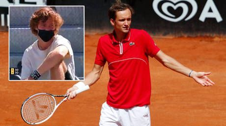 'In the dirt like a dog': Medvedev asks official to default him while losing all-Russian tennis clash as Rublev laughs from stands