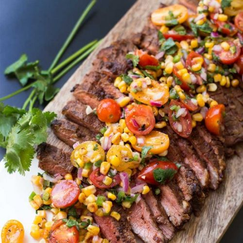 Chili Rubbed Steak with Corn Salsa