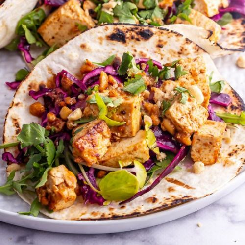 Peanut Tofu Tacos with Cabbage Slaw