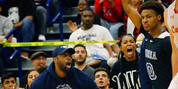 Dwyane Wade and wife Gabrielle Union went berserk courtside after big plays from son Zaire Wade and Bronny James in their first high school game