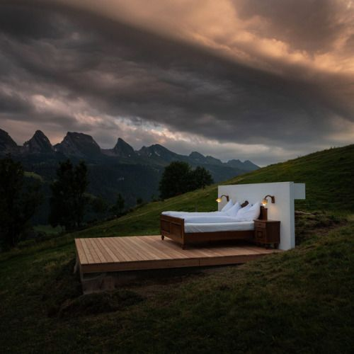 Guests at This Swiss Alps Hotel Sleep Under the Stars in