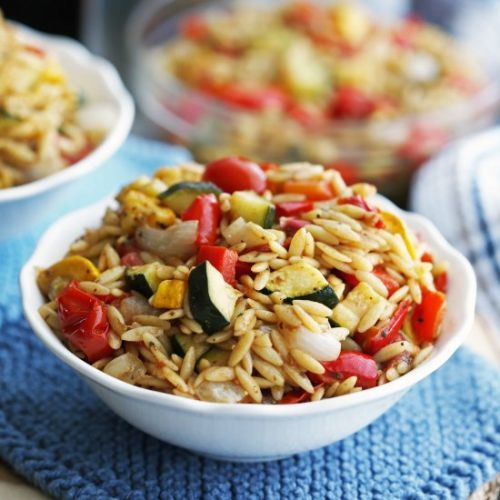 Roasted Vegetable Orzo Pasta