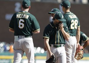 Mengden throws 7 scoreless, A's sweep Tigers with 3-2 win