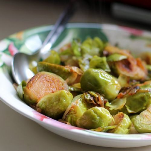 Browned Brussel Sprouts with Onions