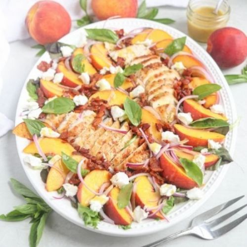 Peach and Chicken Salad with Bacon