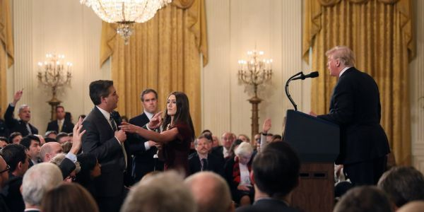 White House says CNN's Jim Acosta is 'no more or less special' than any other reporter and accuses him of 'monopolizing the floor' with questions