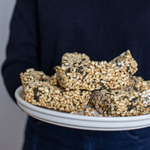 Peanut maple rice crispy snack bars