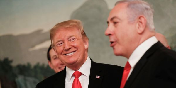 Netanyahu joins Trump at the White House as the president officially recognizes the Golan Heights as part of Israel