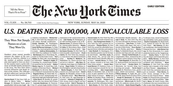 A heartbreaking New York Times front page lists 1,000 coronavirus deaths - just 1% of the total US death toll