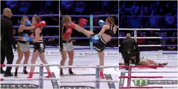 A 19-year-old flattened an opponent more than twice her age with a brutal head kick in the second round of a kickboxing bout