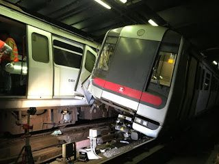 Hong Kong faces commuter chaos after rare train collision