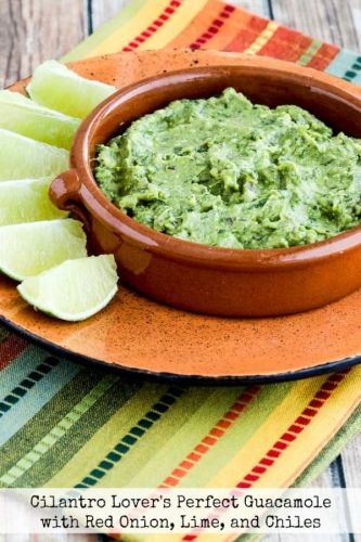 Cilantro-Lovers Perfect Guacamole with Red Onion, Lime, and Chiles