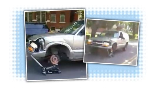 Guy Driving SUV With A Jack For A Wheel Is A Reminder That Sometimes Life Sucks And You Just Deal