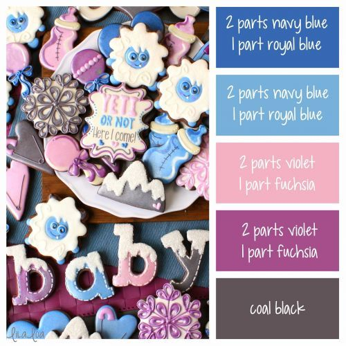 Yeti Baby Shower Color Palette and Icing Color Formulas