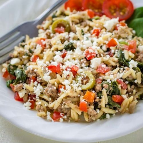 One Skillet Ground Beef with Orzo