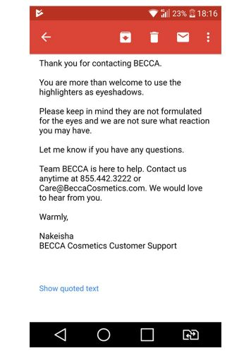 Redditors are Skeptical of Using Becca Highlighters on Eyes Due to Cryptic Company Message