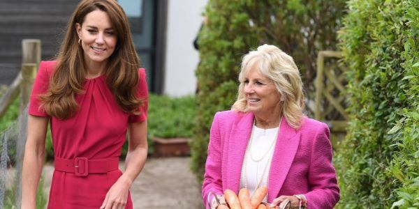Jill Biden and Kate Middleton visited a pre-school classroom and fed a rabbit during their first meeting