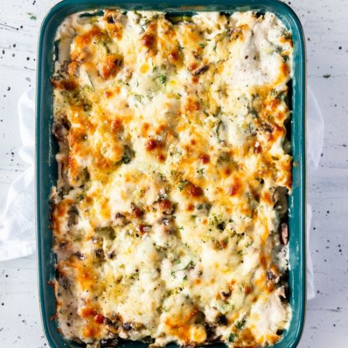 3 Cheese Pesto Chicken Pasta Bake