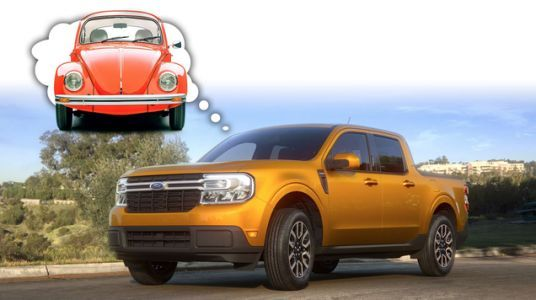 The 2022 Ford Maverick Hybrid Pickup Truck And An Old VW Beetle Share At Least One Technical Quirk