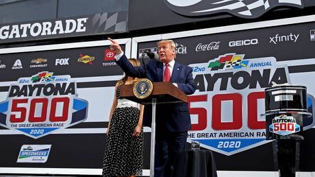 'Gentlemen, start your engines!' Trump kicks off Daytona 500 with lap in armored limo