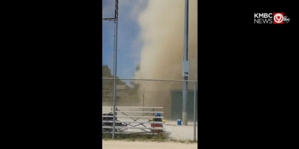Dust devil tears through Kansas City baseball field