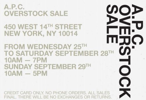 A.P.C Overstock Sale - Sept 25 to 29 - New York, NY