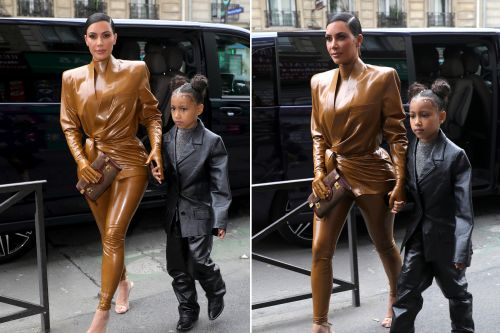 Kim Kardashian wears latex to Kanye West's Sunday Service in Paris