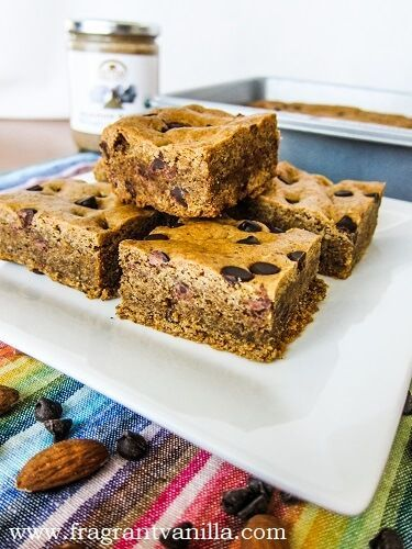 Vegan Almond Butter Maple Blondies