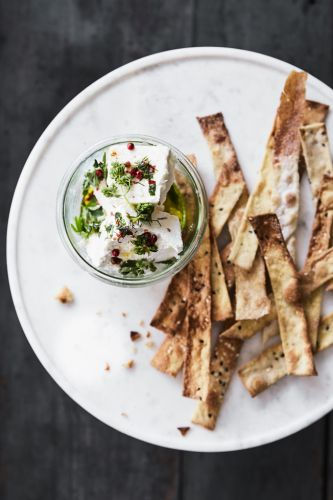 Marinated Feta with Seeded Crackers